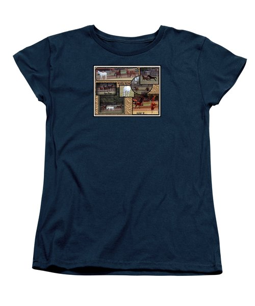 Horses Kickin It  Women's T-Shirt (Standard Cut) by Bobbee Rickard