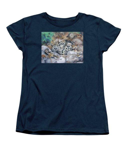 Women's T-Shirt (Standard Cut) featuring the drawing Killdeer Nest by Lori Brackett