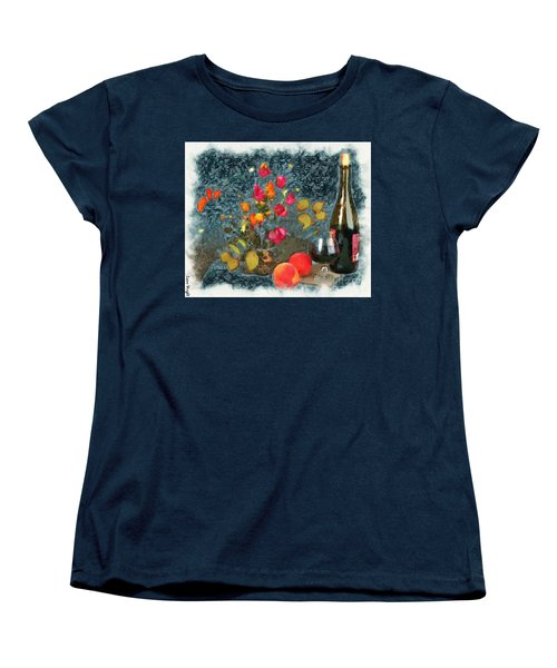 Kitchen - Peaches And Wine Painting  Women's T-Shirt (Standard Cut) by Liane Wright