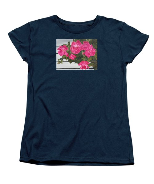 Women's T-Shirt (Standard Cut) featuring the painting Knock Out Roses by Wendy Shoults