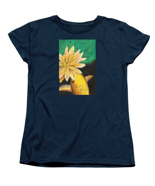 Women's T-Shirt (Standard Cut) featuring the painting Koi And The Lotus Flower by Jeanne Fischer