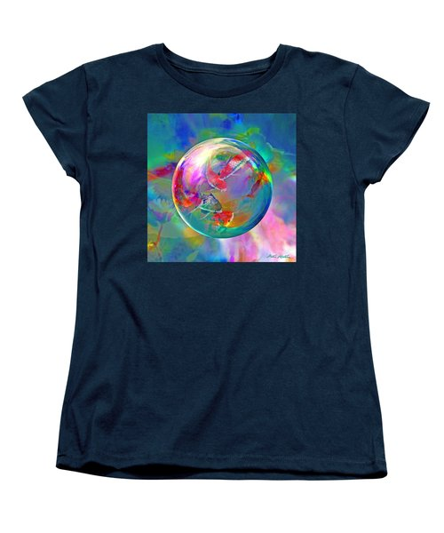 Women's T-Shirt (Standard Cut) featuring the digital art Koi Pond In The Round by Robin Moline