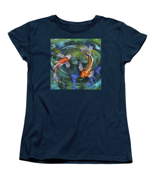 Koi Swirl Women's T-Shirt (Standard Cut) by Donna Tuten