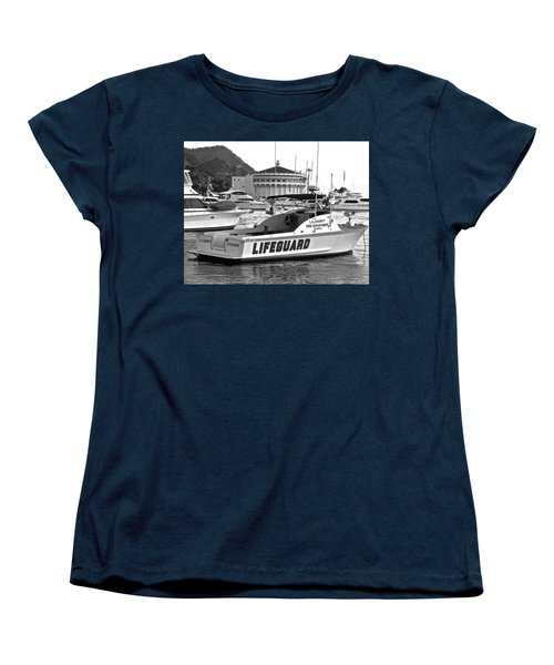 L A County Lifeguard Boat B W Women's T-Shirt (Standard Cut)