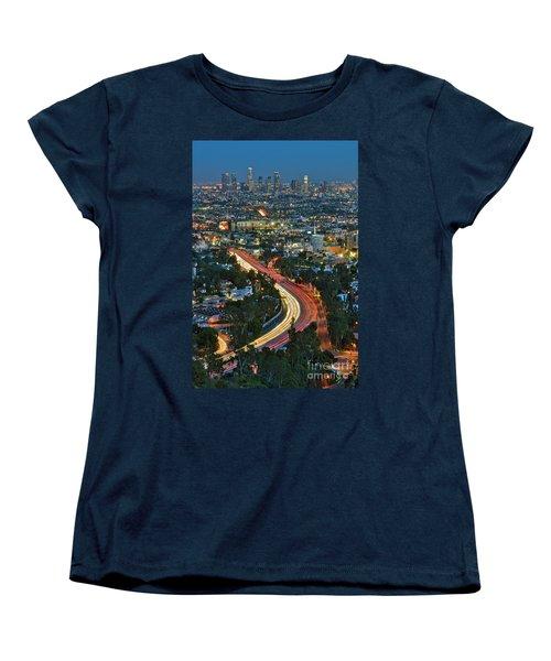 La Skyline Night Magic Hour Dusk Streaking Tail Lights Freeway Women's T-Shirt (Standard Cut) by David Zanzinger