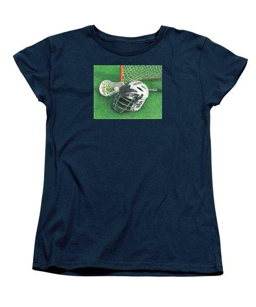 Lacrosse Women's T-Shirt (Standard Cut) by Troy Levesque
