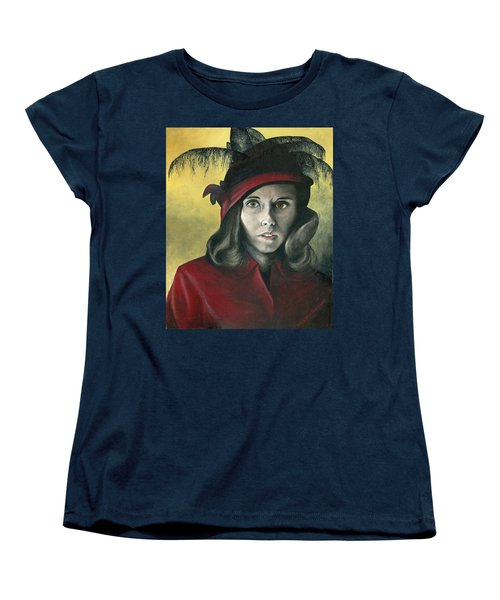 Lady In Red Women's T-Shirt (Standard Cut) by Mary Ellen Anderson