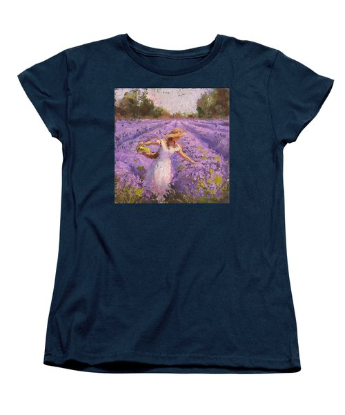 Woman Picking Lavender In A Field In A White Dress - Lady Lavender - Plein Air Painting Women's T-Shirt (Standard Cut) by Karen Whitworth