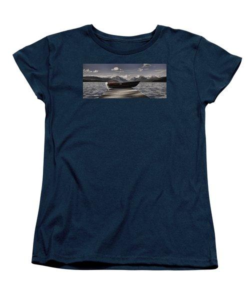Women's T-Shirt (Standard Cut) featuring the photograph Lake Mcdonald by Ellen Heaverlo