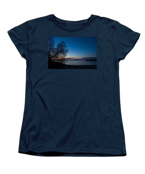 Women's T-Shirt (Standard Cut) featuring the photograph Lake Ontario Blue Hour by Georgia Mizuleva