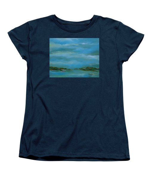 Women's T-Shirt (Standard Cut) featuring the painting Lake Wallenpaupack Early Morning by Judith Rhue