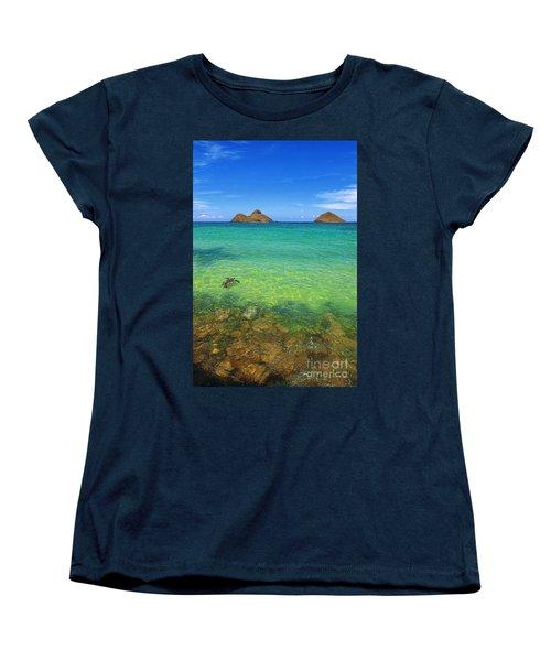 Women's T-Shirt (Standard Cut) featuring the photograph Lanikai Beach Sea Turtle by Aloha Art