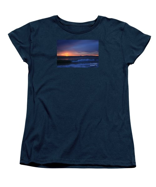 Women's T-Shirt (Standard Cut) featuring the photograph Last Ray Of Sunlight At Pt Mugu With Wave by Ian Donley
