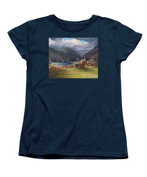 Last Train To Crawford Notch Depot Women's T-Shirt (Standard Cut) by Nancy Griswold