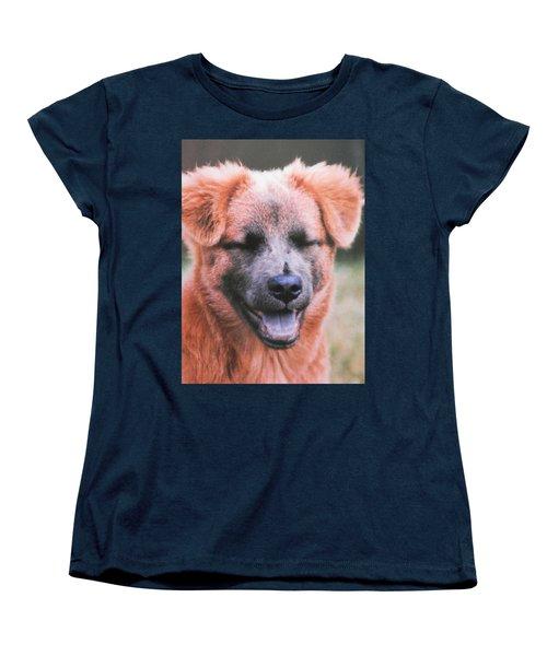 Laughing Dog Women's T-Shirt (Standard Cut) by Belinda Lee