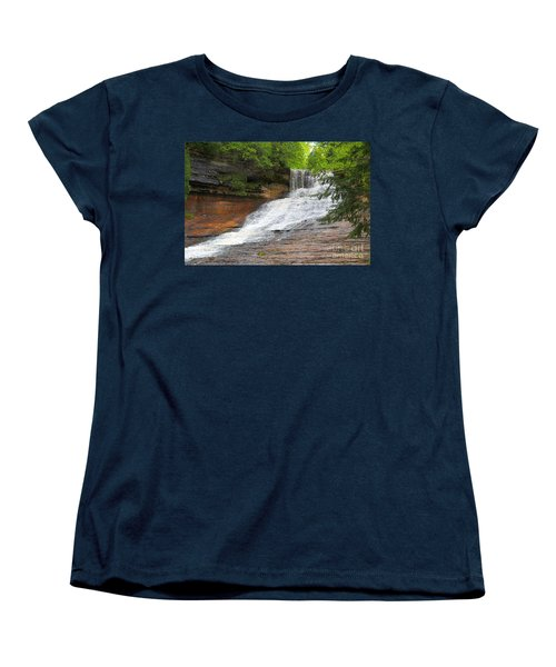 Women's T-Shirt (Standard Cut) featuring the photograph Laughing Whitefish Waterfall by Terri Gostola