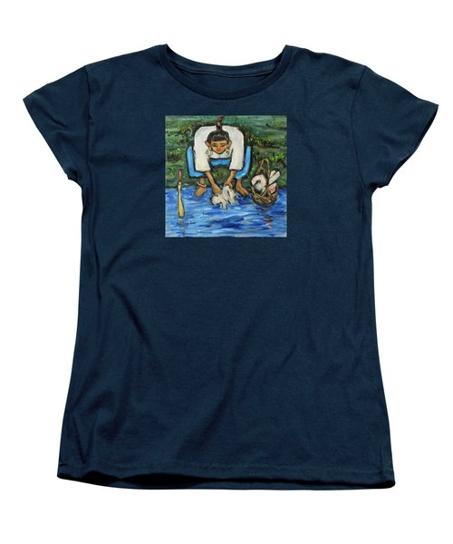 Women's T-Shirt (Standard Cut) featuring the painting Laundry Girl by Xueling Zou