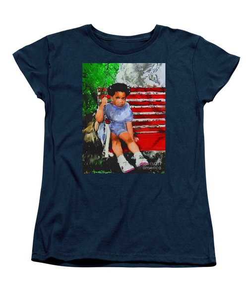 Women's T-Shirt (Standard Cut) featuring the painting Lauren On The Swing by Vannetta Ferguson