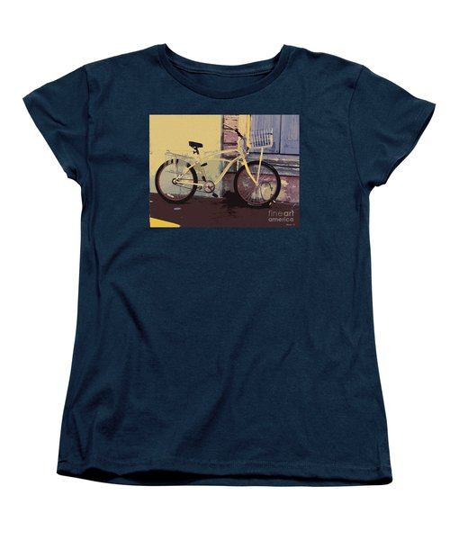 Women's T-Shirt (Standard Cut) featuring the photograph Lavender Door And Yellow Bike by Ecinja Art Works