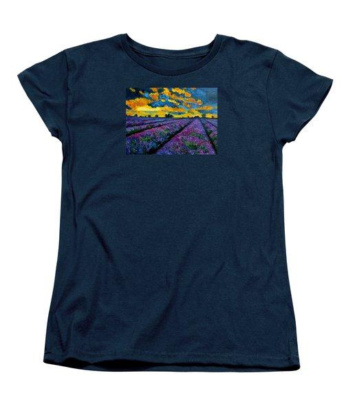 Lavender Fields At Dusk Women's T-Shirt (Standard Cut) by Julie Brugh Riffey