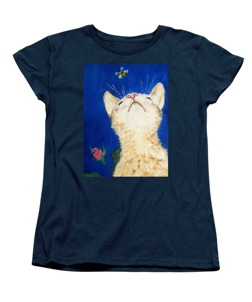 Women's T-Shirt (Standard Cut) featuring the painting Lea And The Bee by Reina Resto