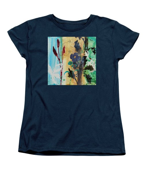 Women's T-Shirt (Standard Cut) featuring the painting Leaf Flower Berry by Robin Maria Pedrero