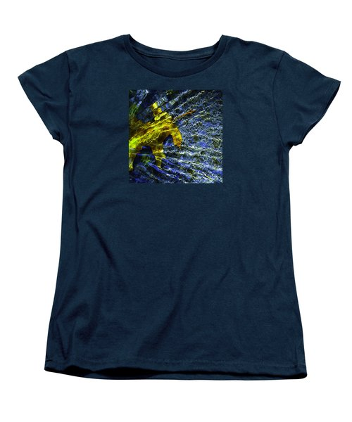 Women's T-Shirt (Standard Cut) featuring the photograph Leaf In Creek - Blue Abstract by Darryl Dalton