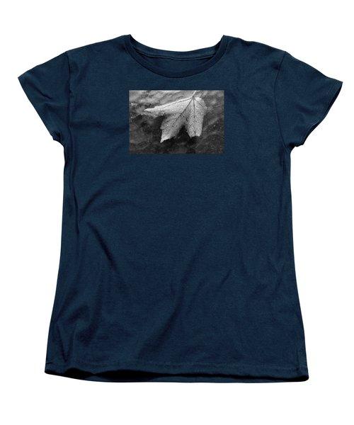Leaf On Glass Women's T-Shirt (Standard Cut) by John Schneider