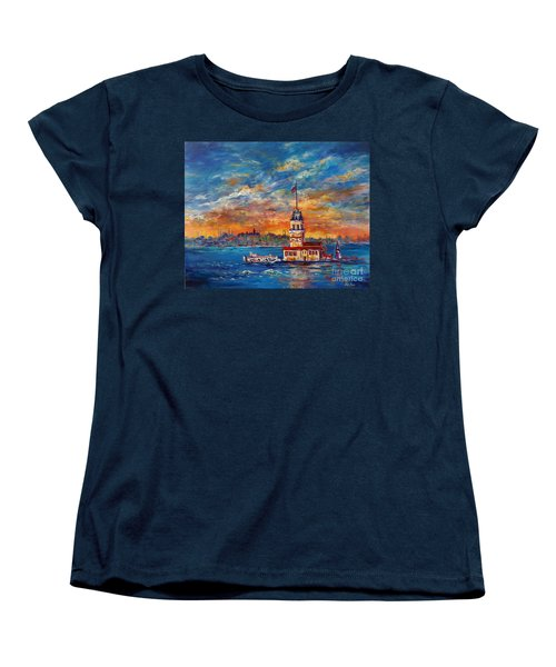 Women's T-Shirt (Standard Cut) featuring the painting Leanders Tower  Istanbul by Lou Ann Bagnall