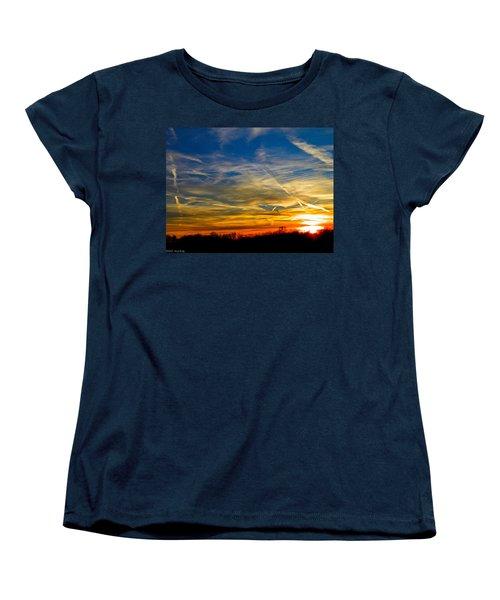 Leavin On A Jetplane Sunset Women's T-Shirt (Standard Cut) by Nick Kirby