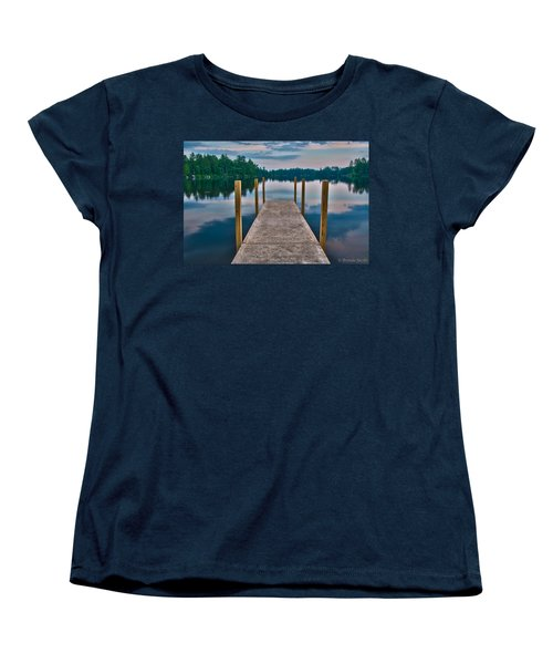 Lees Mills Dock Women's T-Shirt (Standard Cut) by Brenda Jacobs