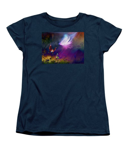Women's T-Shirt (Standard Cut) featuring the painting Light Feather by Lilia D