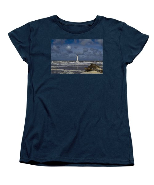 lighthouse at New Brighton Women's T-Shirt (Standard Cut) by Spikey Mouse Photography