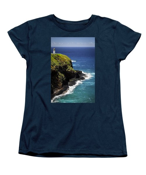 Women's T-Shirt (Standard Cut) featuring the photograph Lighthouse By The Pacific by Debbie Karnes