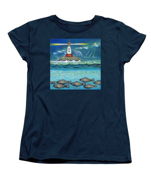 Women's T-Shirt (Standard Cut) featuring the painting Lighthouse Fish 030414 by Selena Boron