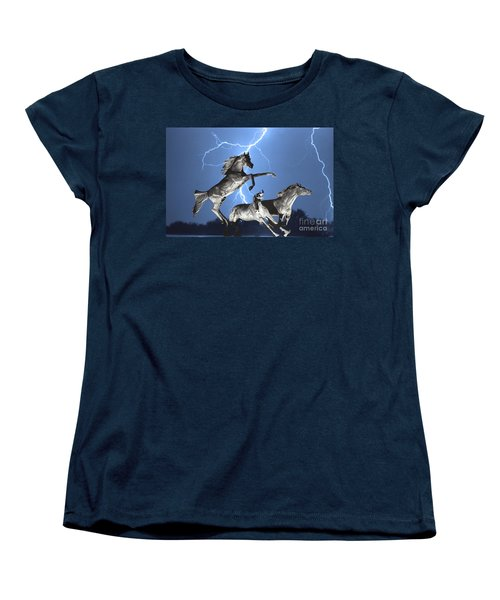 Lightning At Horse World Bw Color Print Women's T-Shirt (Standard Cut) by James BO  Insogna