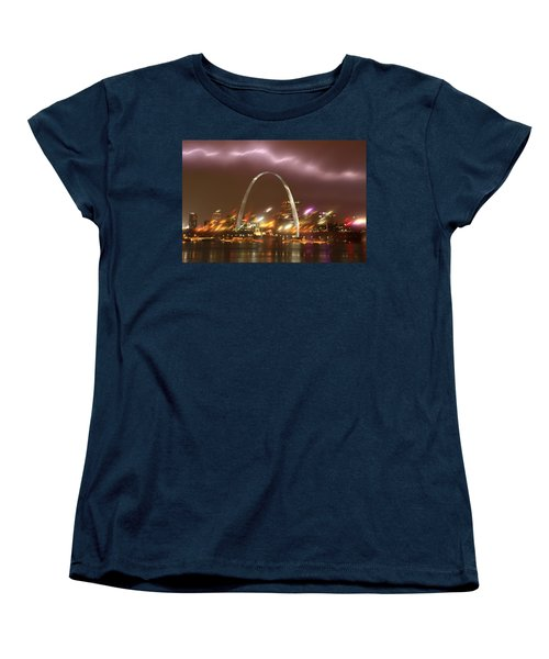 Lightning Over The Arch Women's T-Shirt (Standard Cut) by Garry McMichael