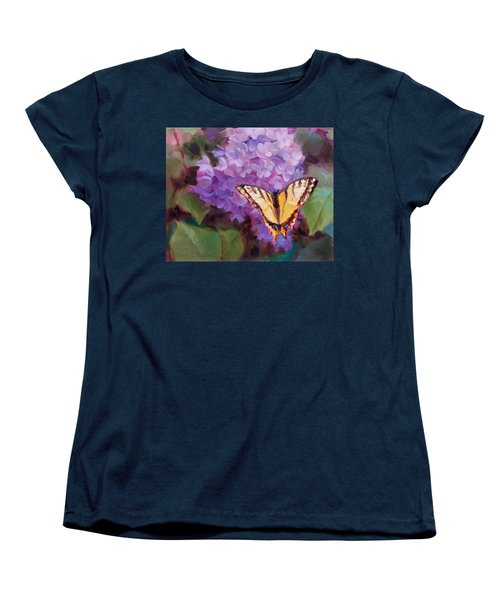 Lilacs And Swallowtail Butterfly Women's T-Shirt (Standard Cut) by Karen Whitworth
