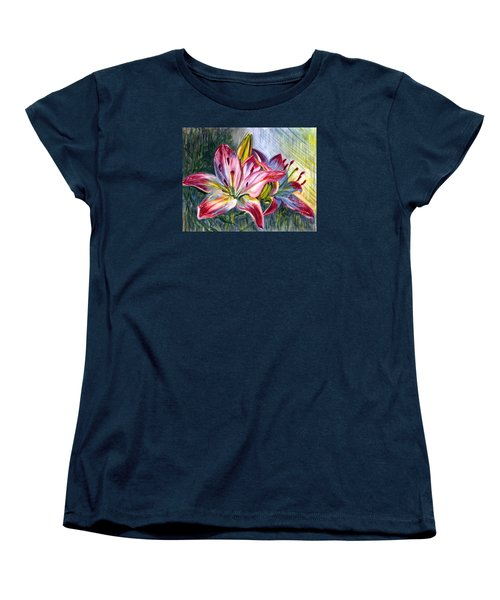 Women's T-Shirt (Standard Cut) featuring the painting Lilies Twin by Harsh Malik