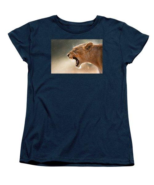 Lioness Displaying Dangerous Teeth In A Rainstorm Women's T-Shirt (Standard Cut) by Johan Swanepoel