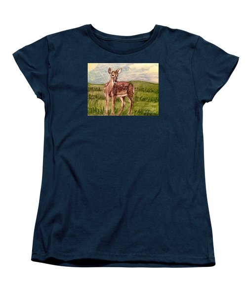 Women's T-Shirt (Standard Cut) featuring the painting Listening To The Creator's Voice by Kimberlee Baxter