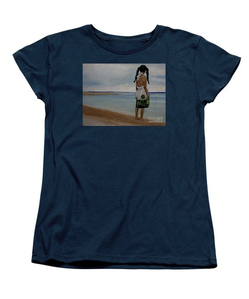 Little Girl On The Beach Women's T-Shirt (Standard Cut) by Chelle Brantley