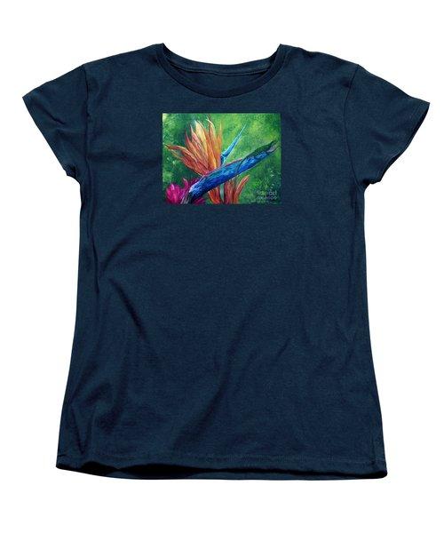 Women's T-Shirt (Standard Cut) featuring the painting Lizard On Bird Of Paradise by Eloise Schneider