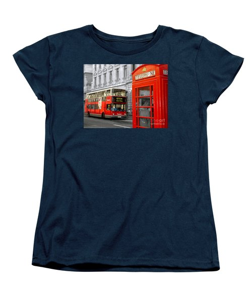 London With A Touch Of Colour Women's T-Shirt (Standard Cut) by Nina Ficur Feenan