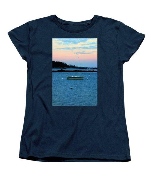 Lone Sailboat At York Maine Women's T-Shirt (Standard Cut) by Denyse Duhaime