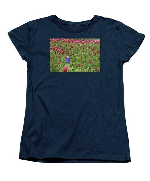 Women's T-Shirt (Standard Cut) featuring the photograph Lonely Bluebonnet by Jerry Bunger