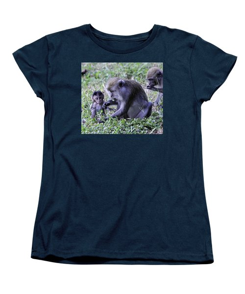 Women's T-Shirt (Standard Cut) featuring the photograph Long Tailed Macaque Family by Shoal Hollingsworth