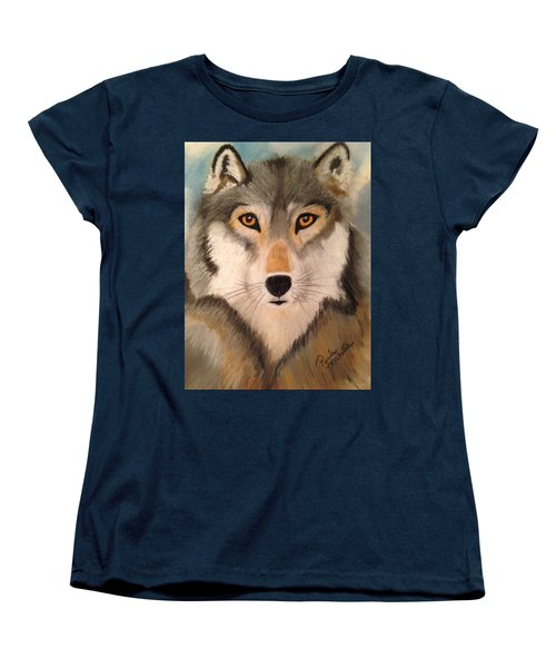 Looking At A Timber Wolf Women's T-Shirt (Standard Cut) by Renee Michelle Wenker