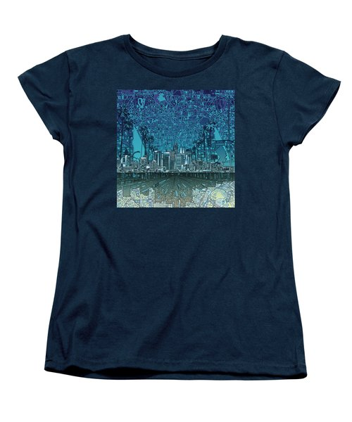 Los Angeles Skyline Abstract 5 Women's T-Shirt (Standard Cut) by Bekim Art