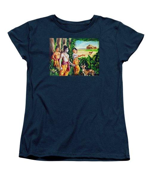 Women's T-Shirt (Standard Cut) featuring the painting Love And Valour- Ramayana- The Divine Saga by Ragunath Venkatraman